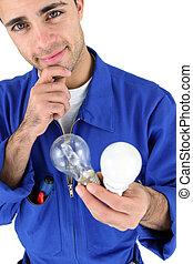 electricista, tenencia, luz, bombillas