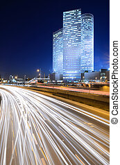 Tel Aviv Skyline - Skyline of Ayalon Highway passing through...