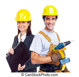 Group of industrial workers Isolated over white background