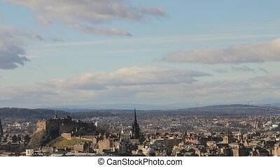 Timelapse of the city of Edinburgh, with view of the castle.