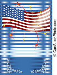 American flag with fireworks