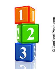 123 color cubes heap - 3d colorful cubes with ciphers 123...