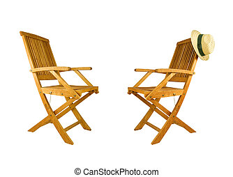 two teak wood deck chairs - two folding teak wood deck...