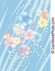 Bluish background with flowers