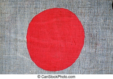 Japanese Flag, painted on coarsely woven cloth
