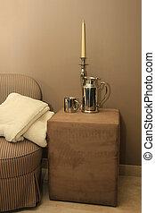 interior, design:, clásico, silla, accesorios, plata