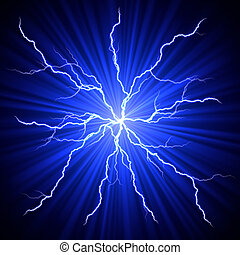 lightnings fireball - electrical white blue lightnings...