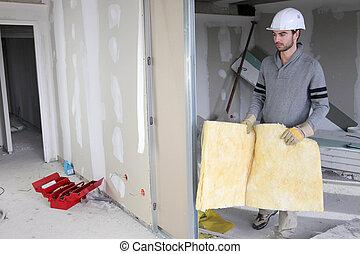 Man building partition
