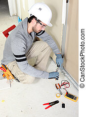 réparation, maison, câblage, homme