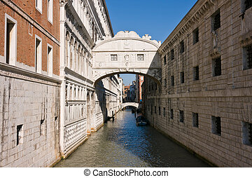 The famous bridge of Sighs in Venice - The famous bridge of...