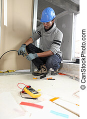 black electrician at work