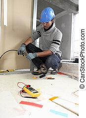 negro, electricista, trabajo