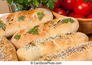 Italian Stromboli - Baked snack size Italian stromboli.