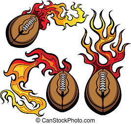 American Football Ball Flaming Vect
