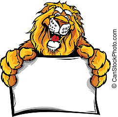 Happy Lion Cartoon with Sign - Lion Head Smiling Mascot...