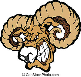 Ram Mascot Cartoon Illustration - Angry Cartoon Ram Mascot...