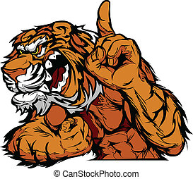 Tiger Mascot Body Vector Cartoon - Cartoon Vector Mascot...