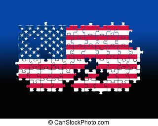 USA Jigsaw pattern - Jigsaw pieces filled with USA flag over...