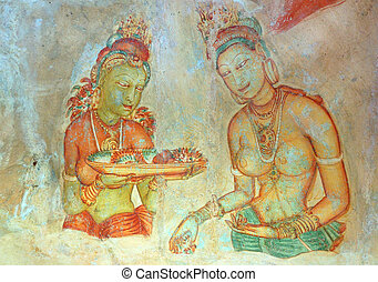 Apsara celestial nymphs - ancient painting on the walls in...