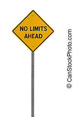 no limits ahead - Yellow road warning sign - a yellow road...