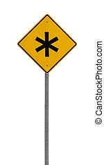 * asterik - Yellow road warning sign - a yellow road sign...