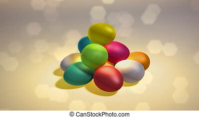 easter egg hill background - colorful easter eggs background...