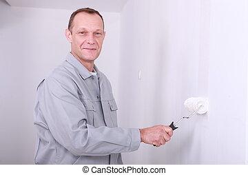 hombre, overol, Pintura, habitación, blanco