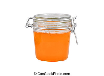 Glass jar with honey, isolated on white background