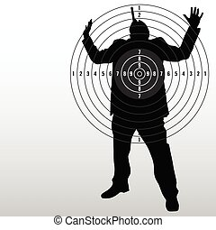 target with man black silhouette art vector illustration
