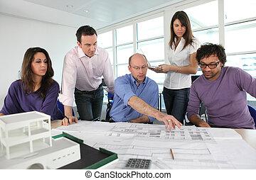 gruppo, architetti, lavorativo