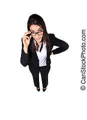 Full length shot of a businesswoman holding her glasses
