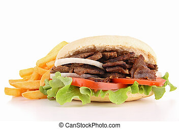 isolated kebab and french fries