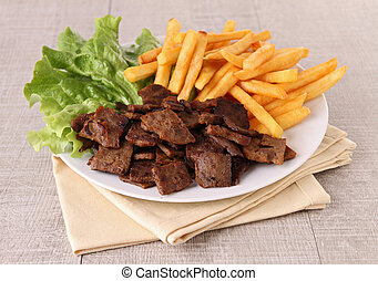 doner kebab with french fries