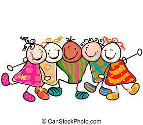 kids playing - group of smiling kids with funny faces