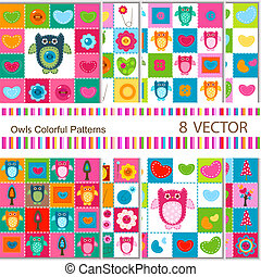owls backgrounds - 8 vector colorful owls backgrounds for...