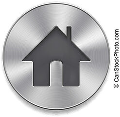 Home icon - Metal button with icon Home on a white