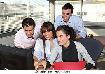 Business team laughing