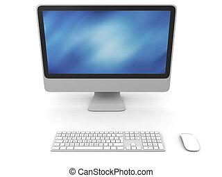 Desktop computer - 3D illustration of modern desktop...