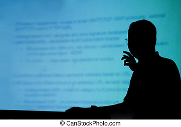 silhouette of a man doing presentation - silhouette of a man...