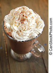 Hot chocolate with whipped cream - Top view of a hot...