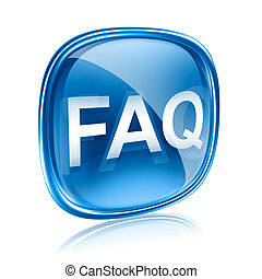 FAQ icon blue glass, isolated on white background