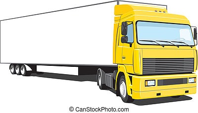Semi truck - Vector isolated yellow semi truck on white...