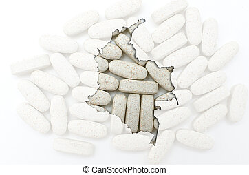 Outline colombia map with transparent background of capsules...