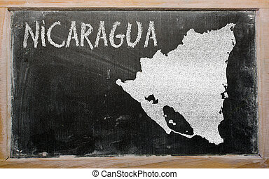 outline map of nicaragua on blackboard - drawing of...