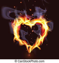Fiery Heart - Illustration of a passionate burning heart...