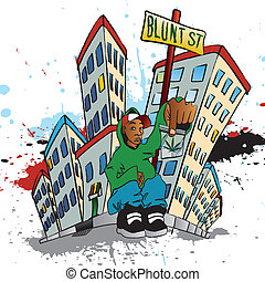 Ghetto Blunt Street - Illustration of a guy sitting with a...