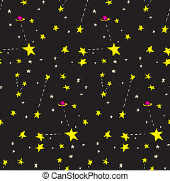 Seamless Stars and Planets - Seamless background of stars...