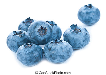 Isolated blue berries group on white background