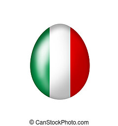 Italian egg - Easter Egg with an Italian flag on a white...