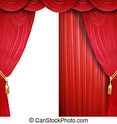 Half open theater stage - Red curtain of a classical theater...